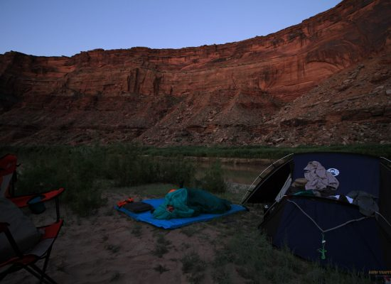 Sleeping on a sand island on the green river